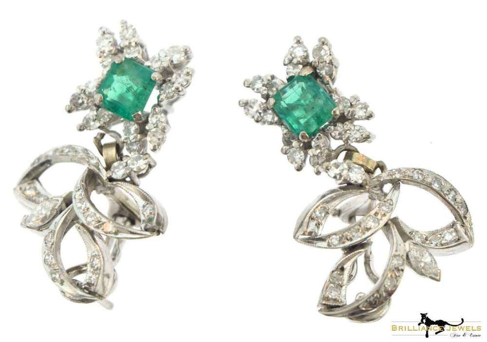 acda0a0ed01df Details about Magnificent Vintage Diamond & Emerald Statement ...