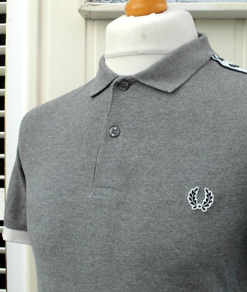 326fdc2e1 Fred Perry Grey Taped Slim Fit Pique Polo - M - 38