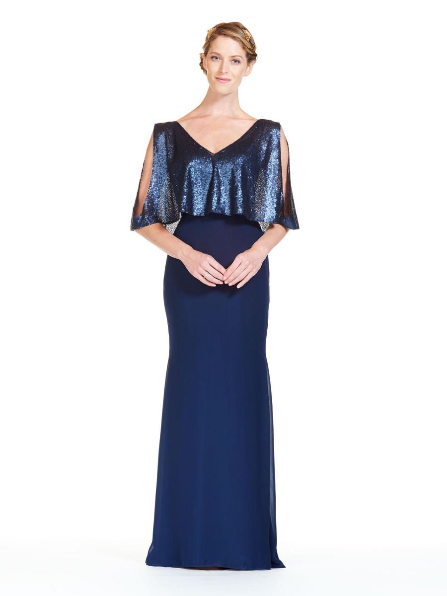 1b63307b598ef Bari Jay 1816 is a long V neck bridesmaid dress that has a Solid Sequin  bodice with elbow length cold shoulder draped sleeves and an open V back.
