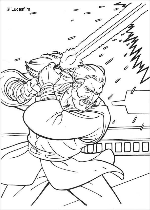 Jedi Knight Qui Gon Jinn With A Laser Sword Coloring Page More