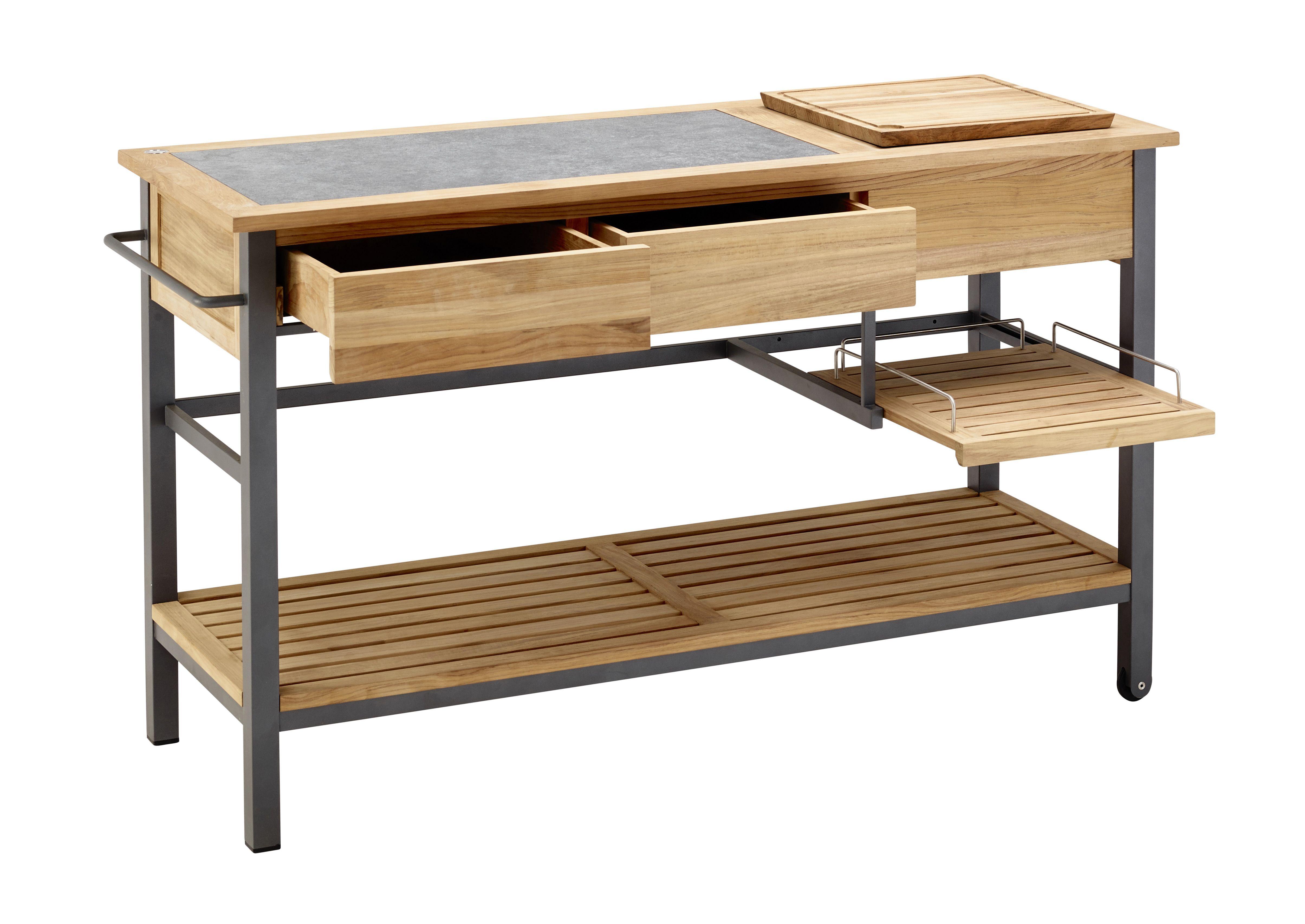 solpuri | BUTLER Kitchen Cart | Material: stainless steel, teak ...