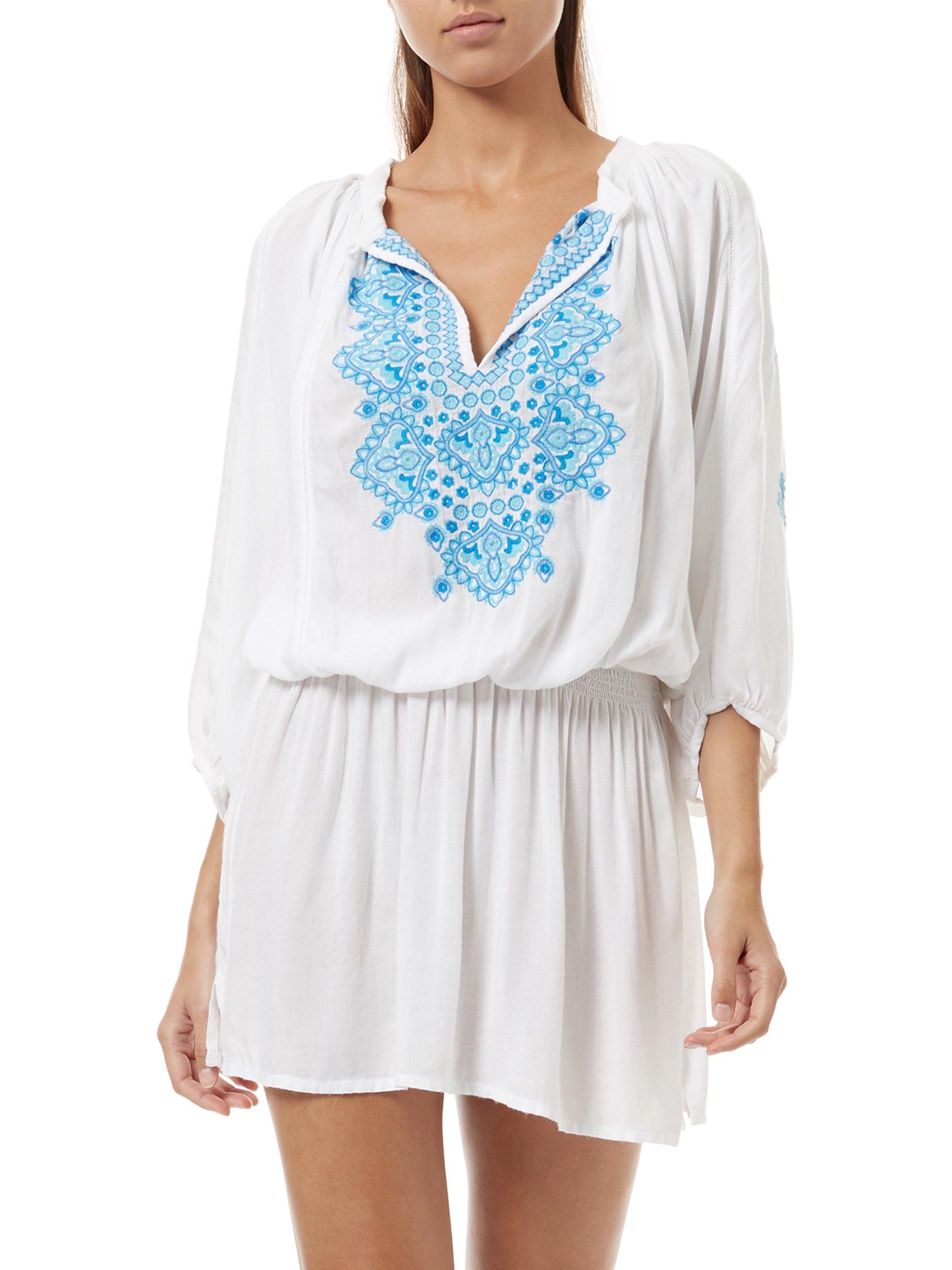 Melissa Odabash Nadja Short Tunic Dress White Small