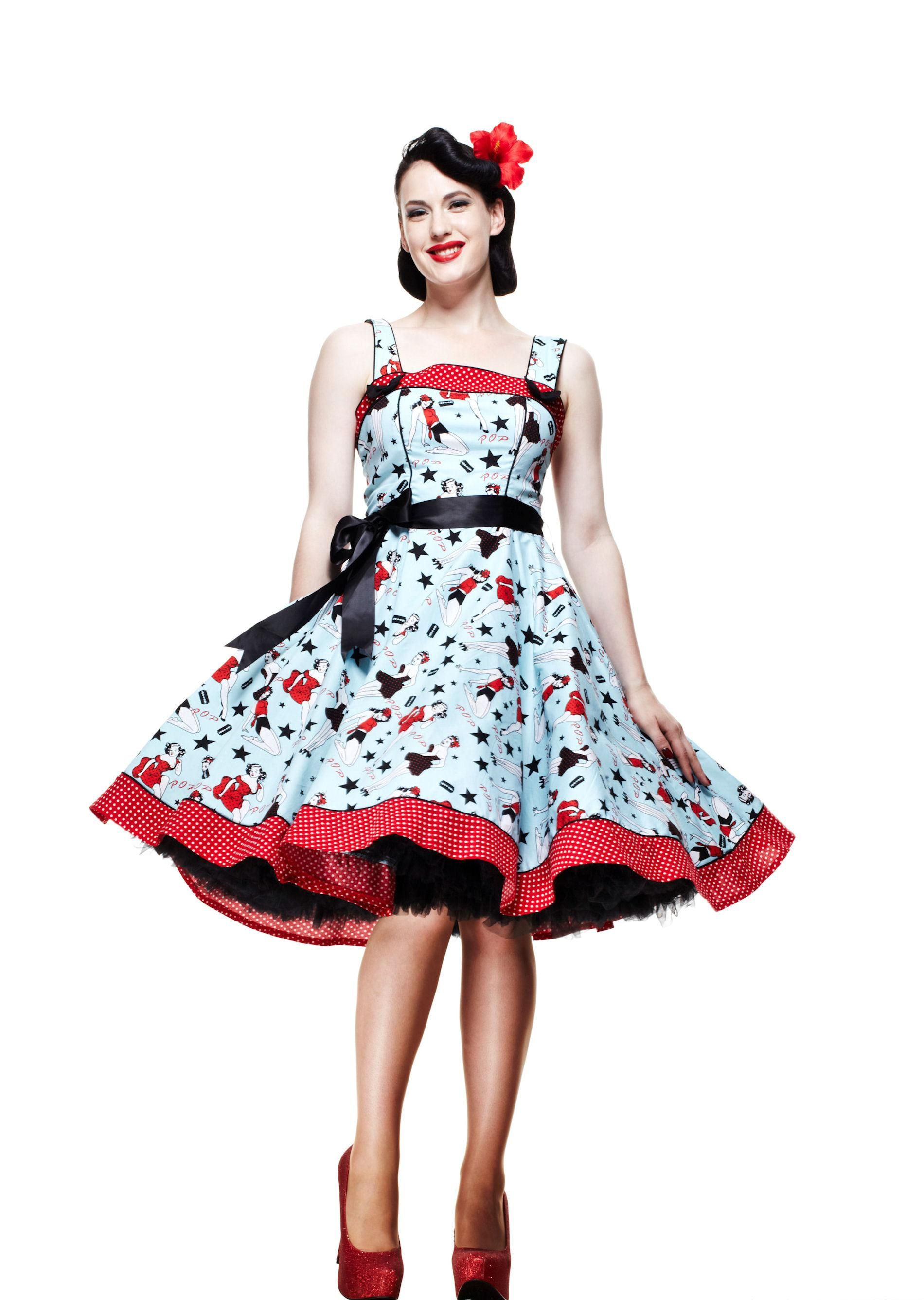 8b9895a6a175 Cute dress with pin-up girl print Rockabilly Fashion