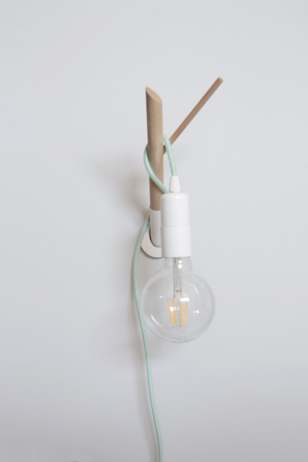 Handmade Wooden Lamp Hook with a Colored Fabric Cable, Wall Lamp ...