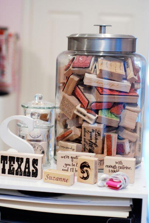 I love storing things in jars...easy artwork! {craft room}
