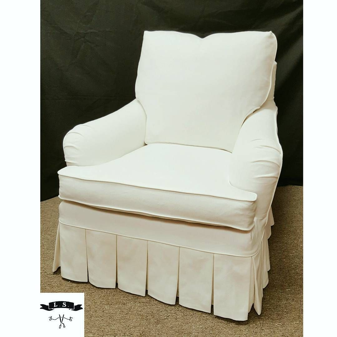 White Cotton Denim Chair Slipcover With Box Pleat Skirt By