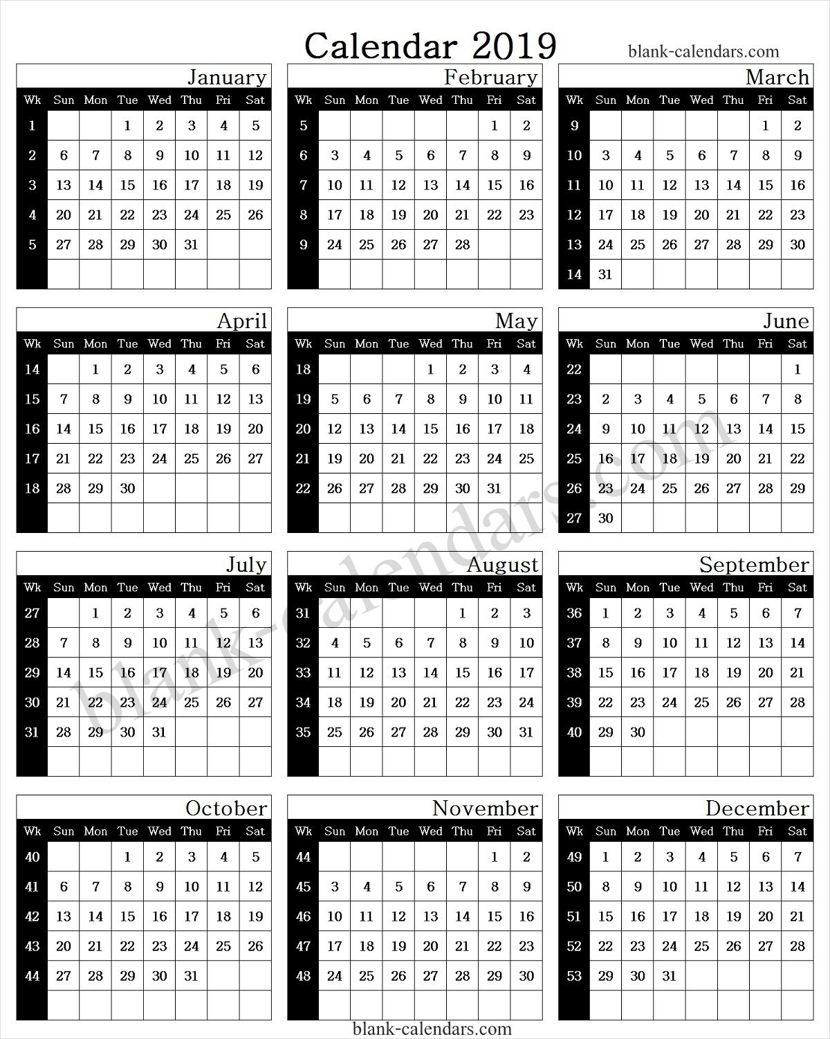 Year Calendar 2019 With Week Numbers Calendar 2019 With Week