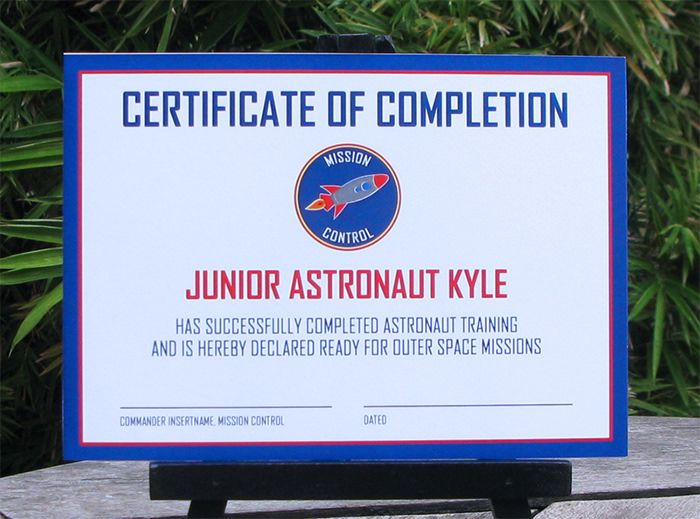 Astronaut Training Party Invitations Training certificate - certificate for training