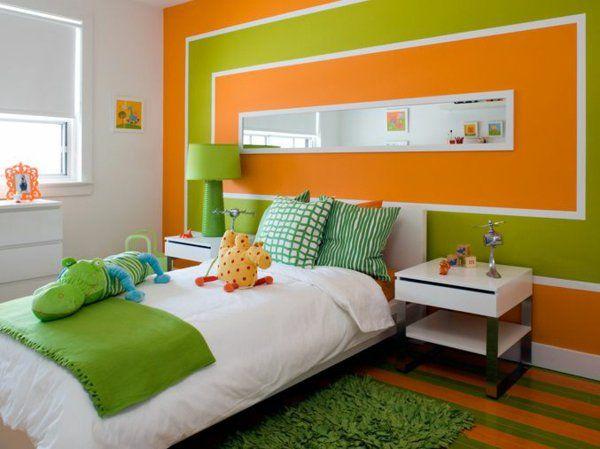 Farbideen orange Wände streichen Wandgestaltung grün kinderraum