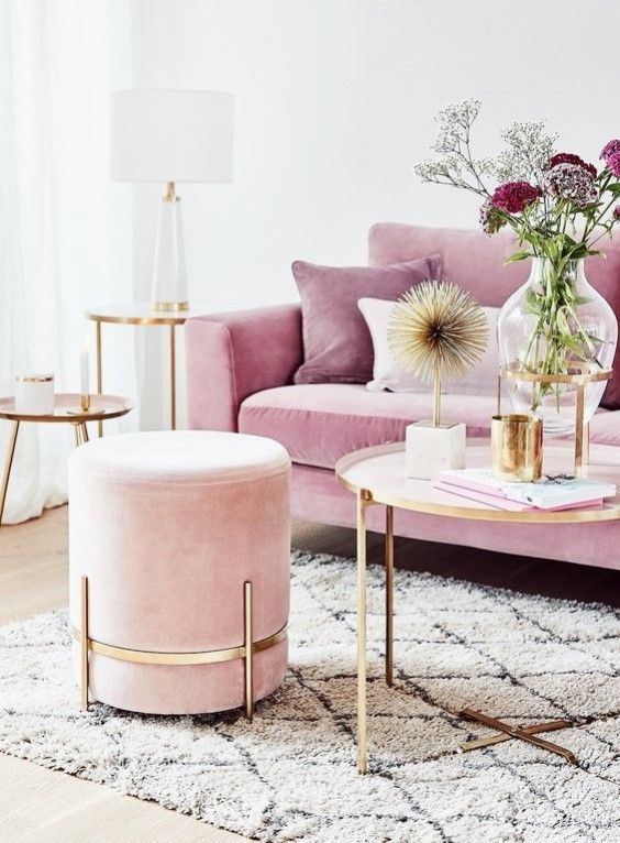 Interior Inspiration Barely Blush For A Touch Of Femininity Without Being Saccharine Sweet Blush Pink Living Room Decor Pink Living Room Gold Living Room
