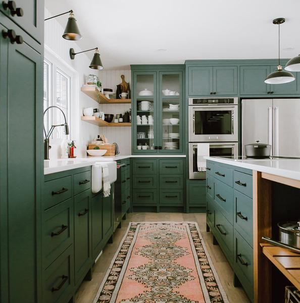 25 Absolutely Gorgeous Transitional Style Kitchen Ideas: A Beautiful Olive Green Modern Farmhouse Kitchen By