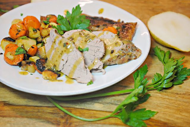 GourmetGents: Sweet and Savory (Roast pork, pears, and root vegetables)