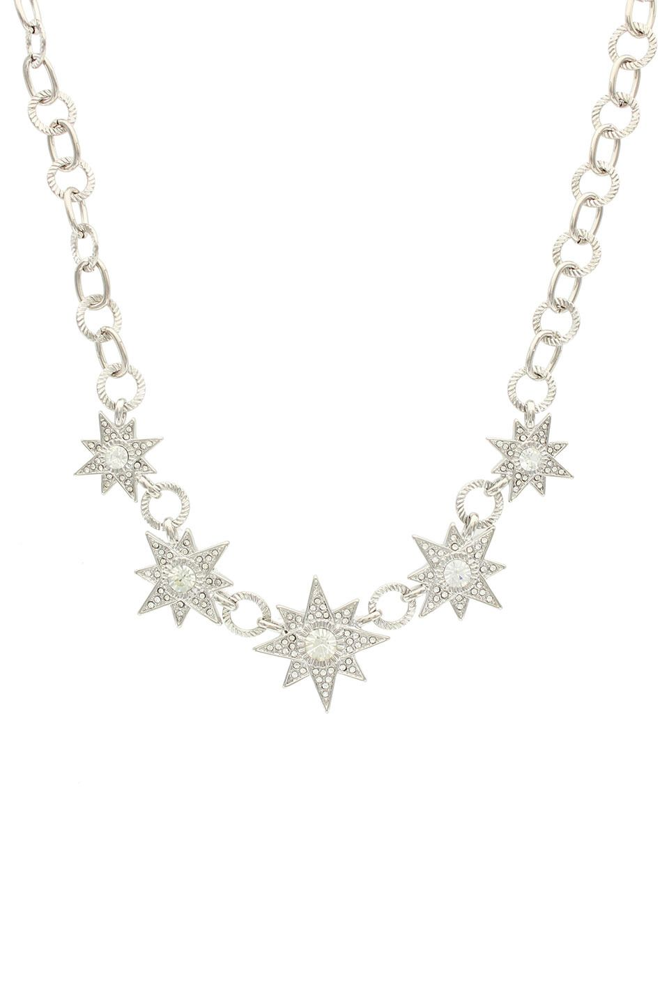 Sparkling Sage Silver Plated Crystal Covered Star Lined Statement Necklace - Beyond the Rack