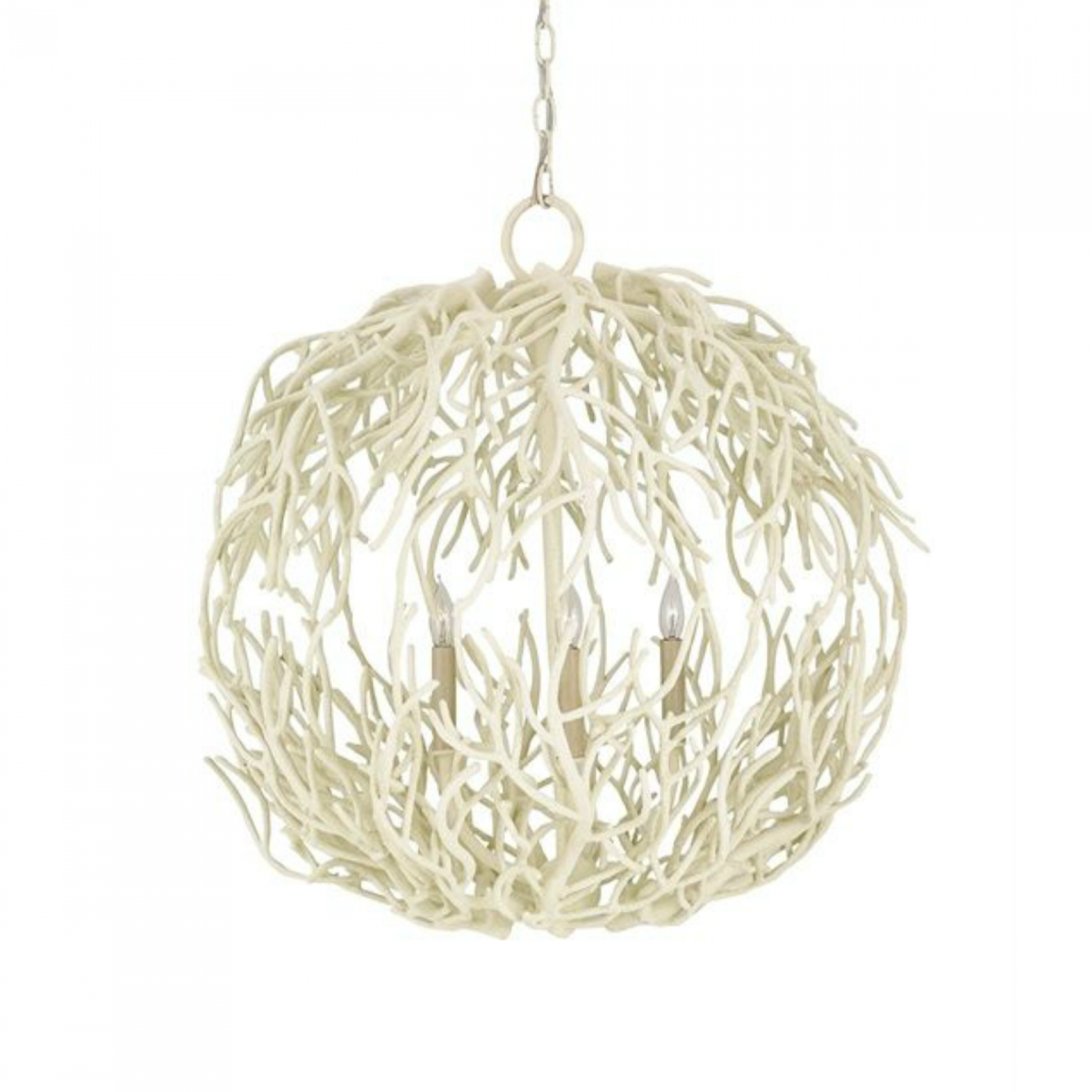 Tidal Wrought Iron with a White Coral Finish Orb Chandelier