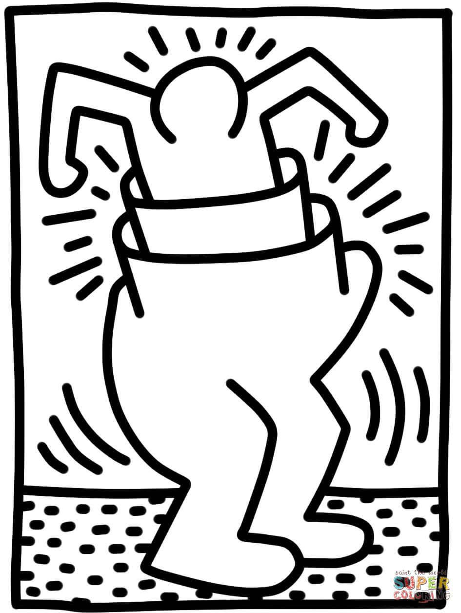 Pop Shop Figure By Keith Haring Coloring Page Free Printable