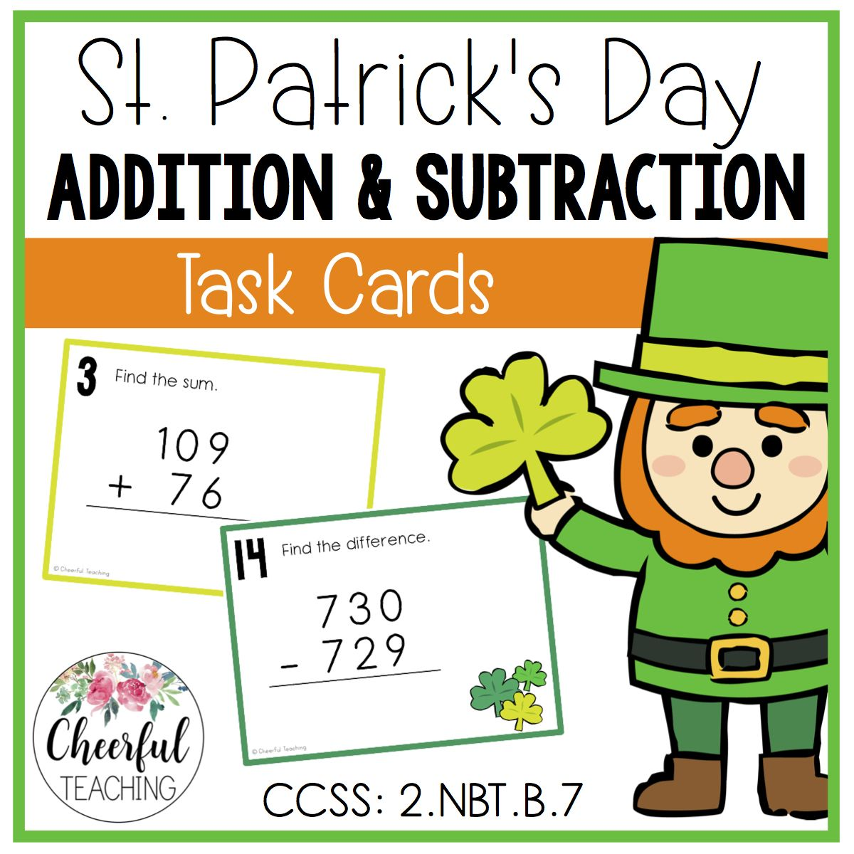 St Patrick S Day Addition Amp Subtraction Task Cards