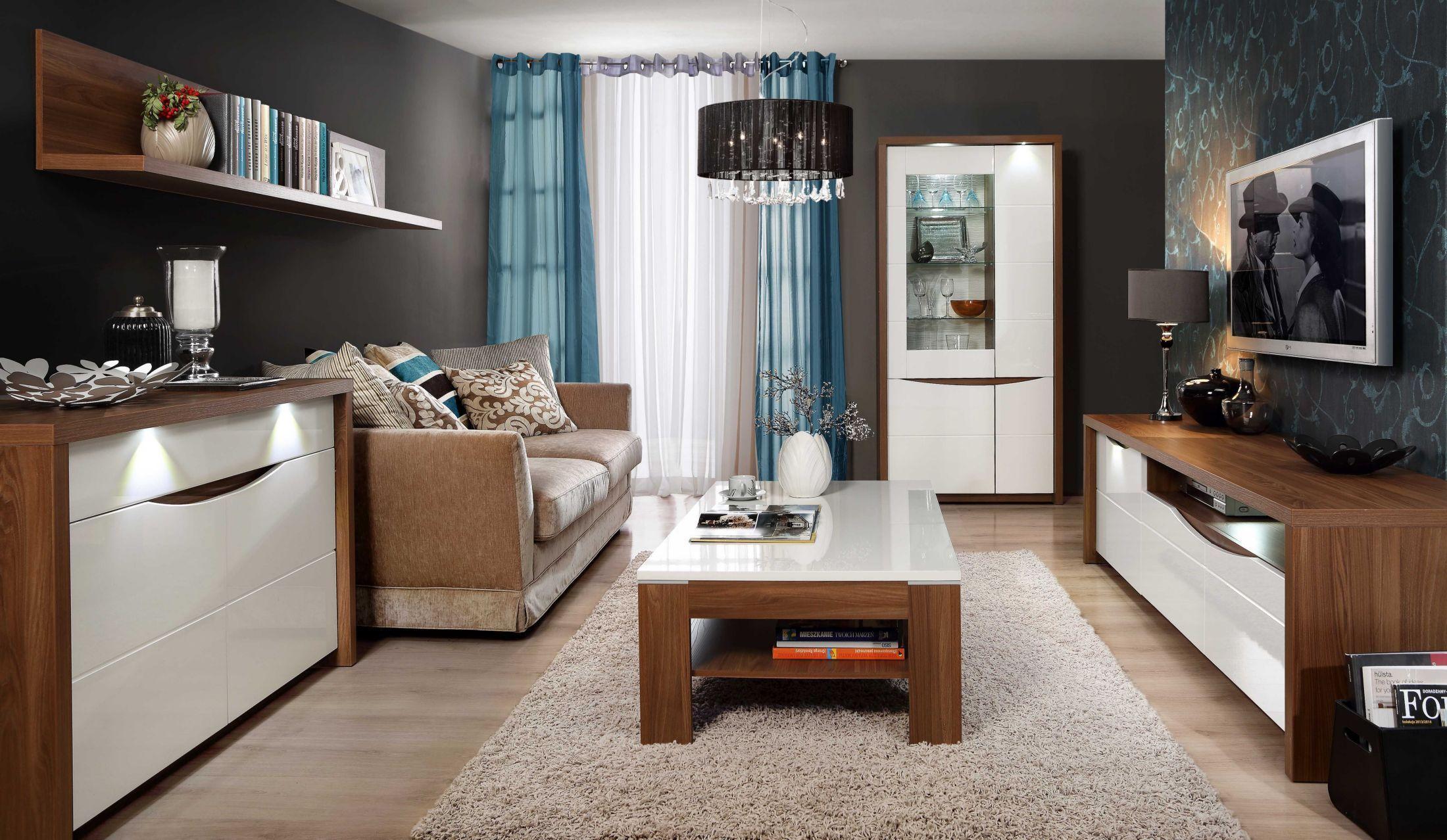 Wohnzimmer Set ~ Wohnzimmer set weiss hochglanz und sangallo eiche woody