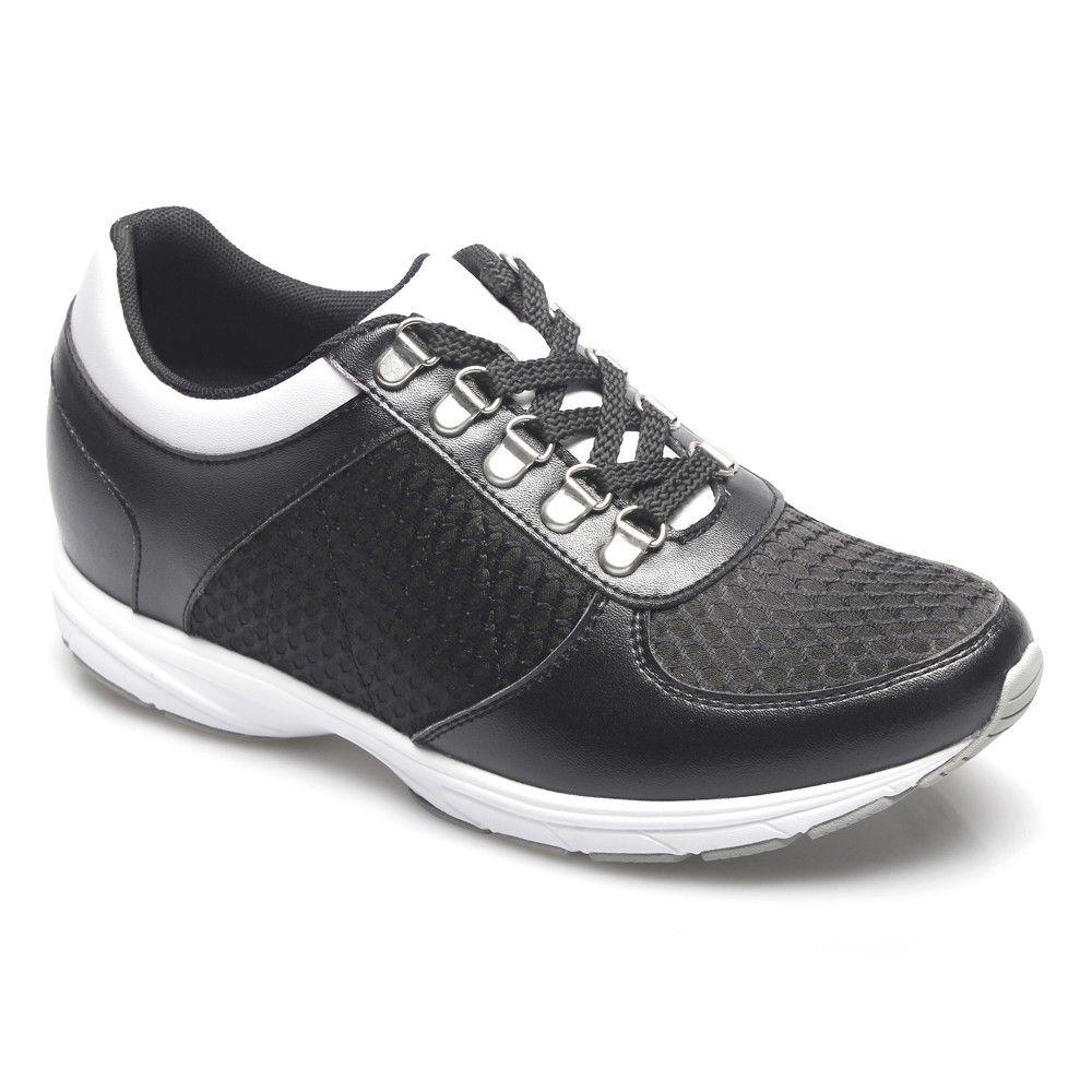 Chamaripa inch Microfiber Sport Shoes Black/ White elevator shoes for men;
