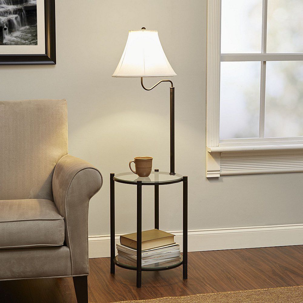 Side End Table With Floor Lamp Metal Glass Rounded Shelf Living