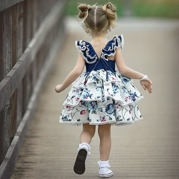 Fashion Girls Princess Dress Cute Kids Flower Dress Short Sleeve Summer Patchwork Ruffles Backless Party Dress | Wish