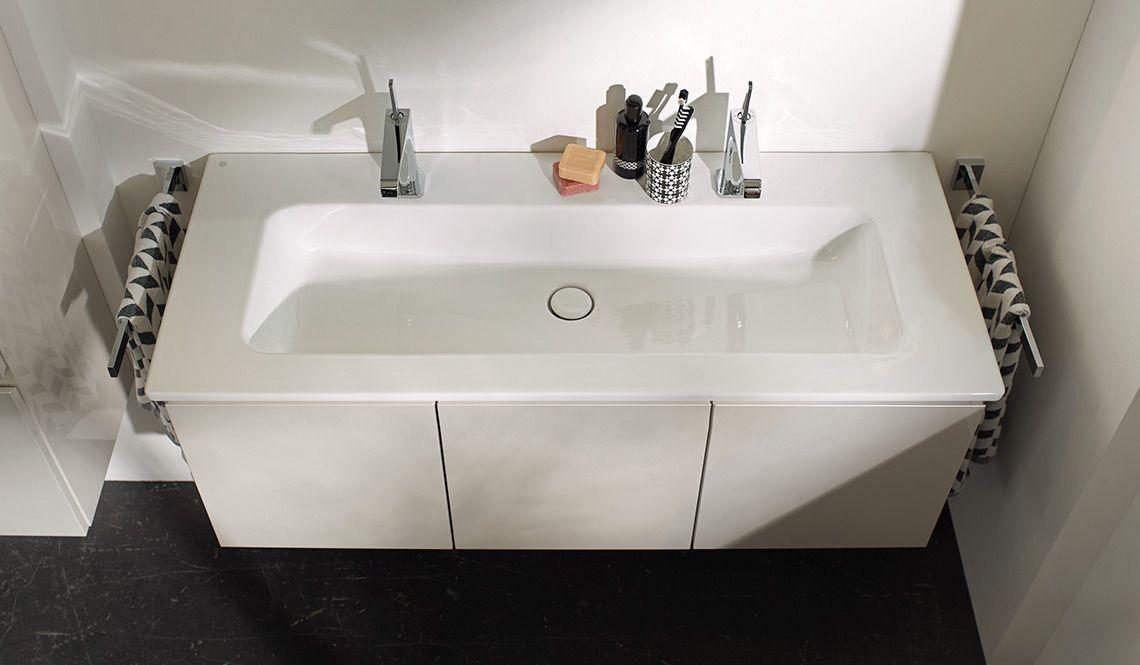 burgbad essento Keramik Waschtisch, minimalistisch und soft - keramik waschbecken k che