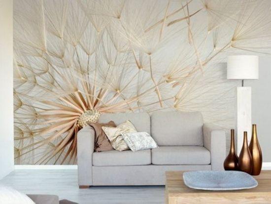 ideen fr wandgestaltung im wohnzimmer lwenzahn wanddeko - Wohnzimmer Wandgestaltung Farbe