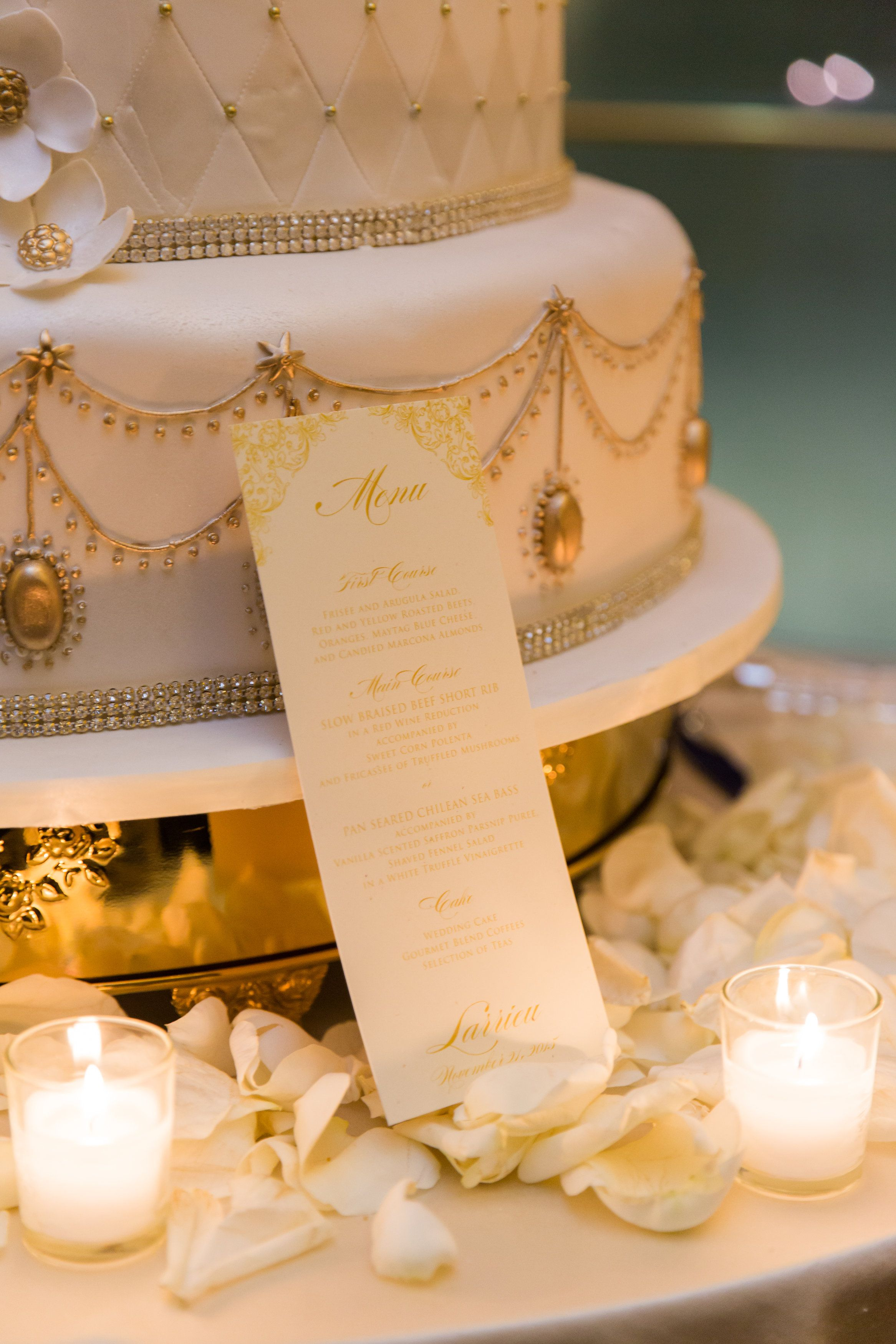 Beautiful Gold Menu Cards   Exquisite White and Gold Wedding Cake by ...