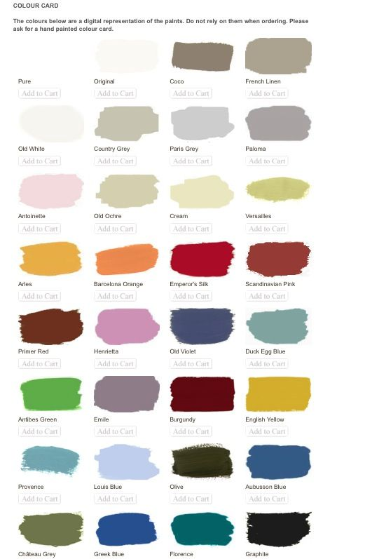 Annie Sloan Colour Chart Chalk Paint