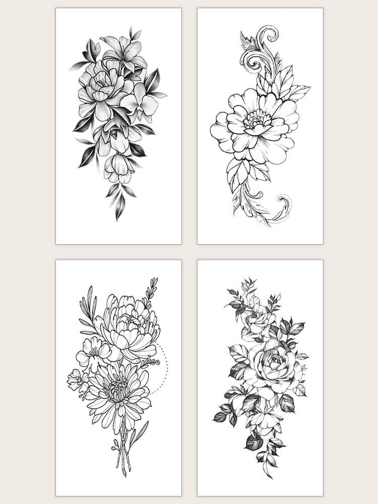 Floral Waterproof Tattoo Sticker 4sheets