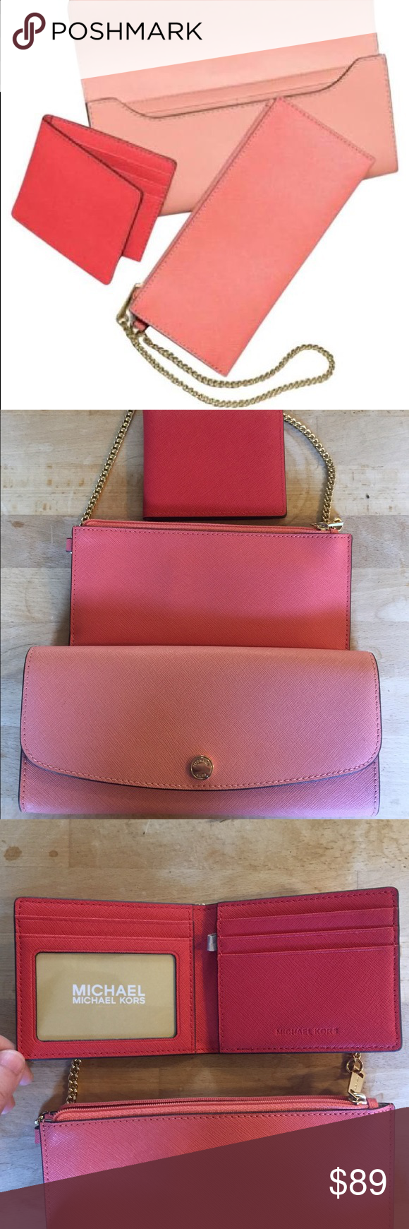 2c8adb4a11e2 Michael Kors Pink Juliana Large 3 In 1 Wallet Michael Kors Peach / Coral Juliana  Large 3 In 1 Wallet Material: saffiano leather 9