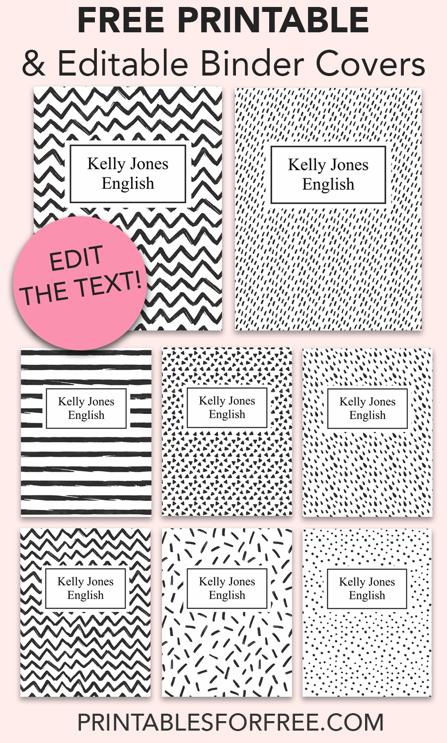 make your own binder covers with these free printable binder cover t