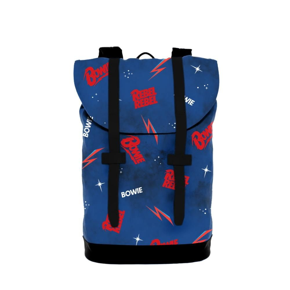 Check out this cool David Bowie galaxy heritage bag. Each heritage backpack features dual adjustable straps, drawstring closure fuctionability, spacious internal compartments, and a padded base for extra support. Measures 16.25 x 9.75 x 7.5 and has a 3.75 gallon capacity. Navy color.