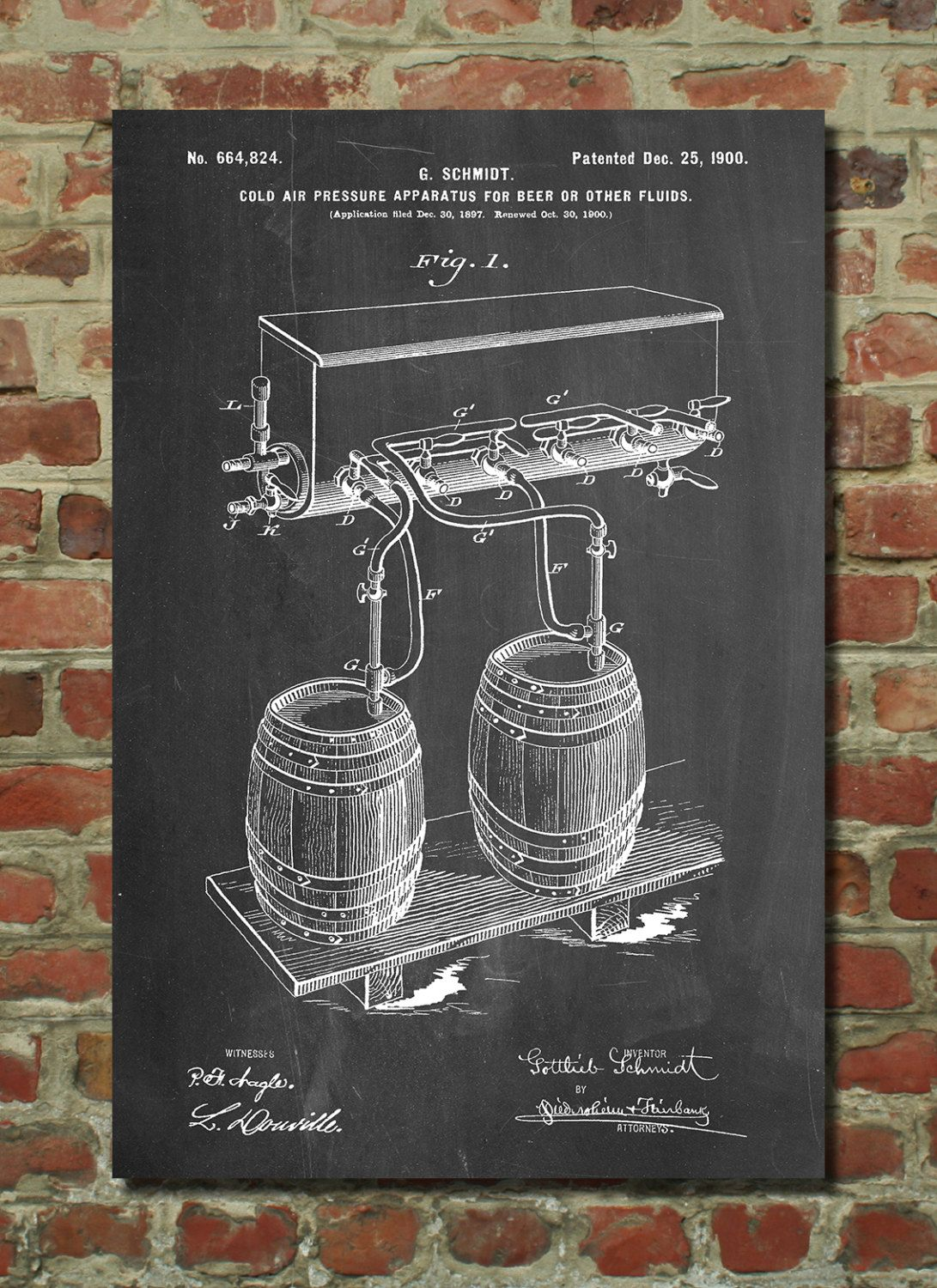 Beer Wall Decor beer keg cold air pressure tap poster, beer patent, brewery
