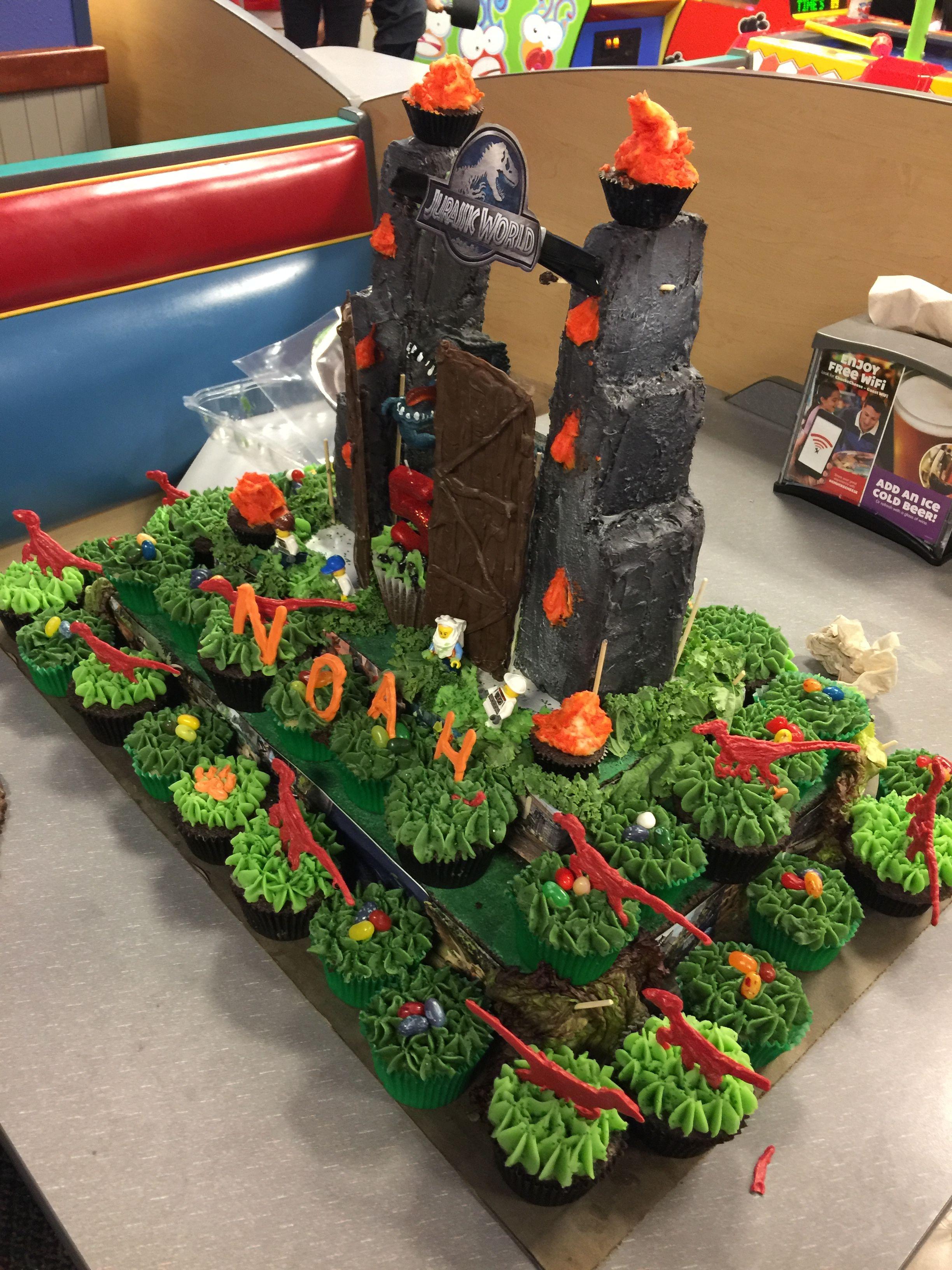 Jurassic world birthday cupcake cake dinosaur birthday