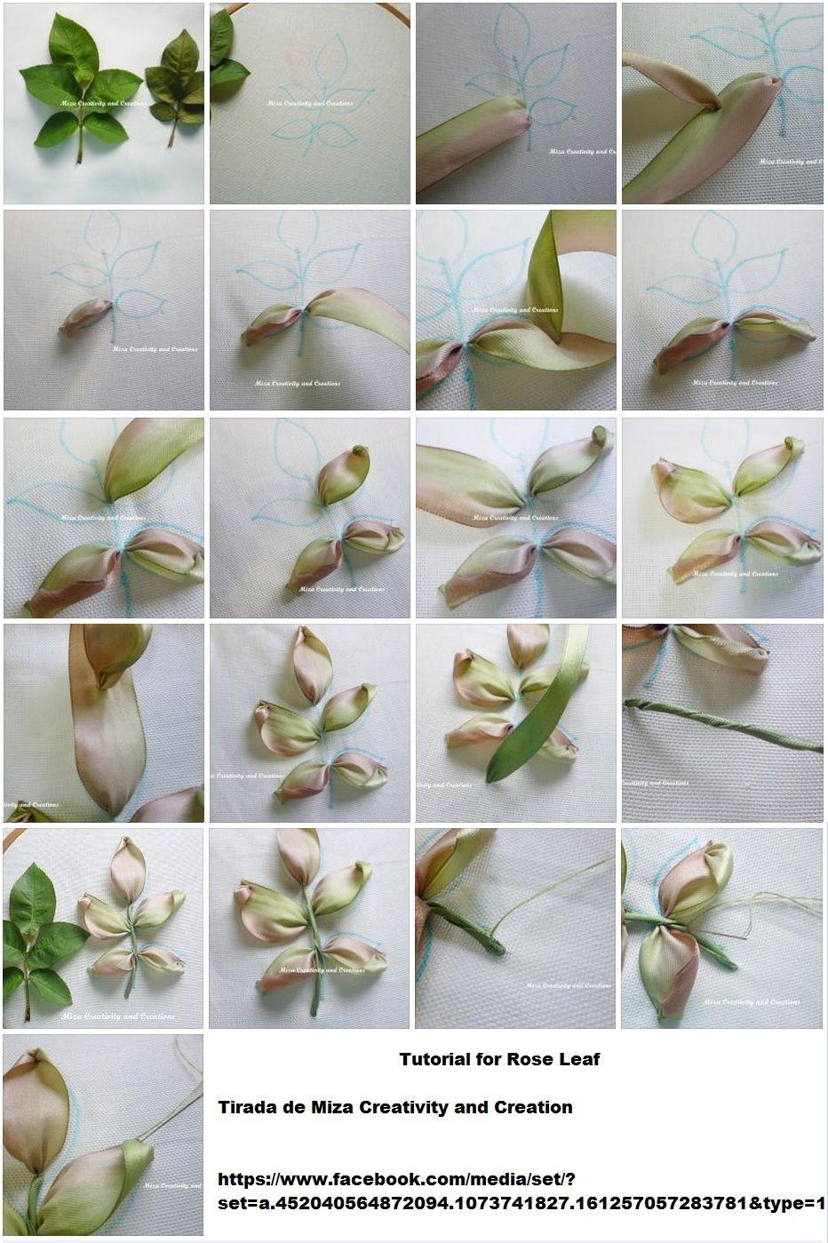 Tutorial For Rose Leaf #ribbon Work #@af's Collection