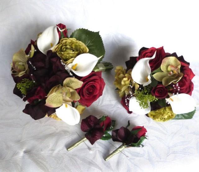 Silk Wedding Bouquet Shades Of Burgundy Roses Green Orchids Plum Hydrangea Bridal Set