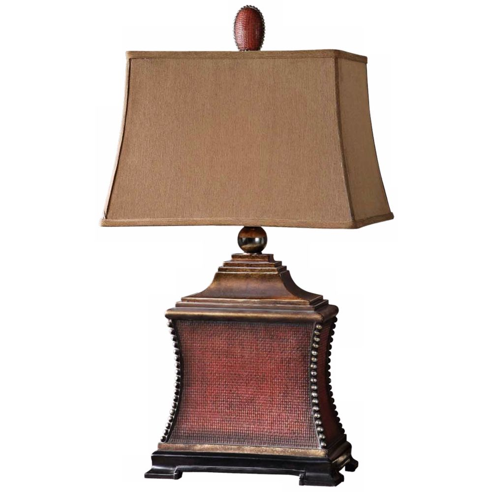 Uttermost Pavia Aged Red Woven Texture Table Lamp - Style # N4461