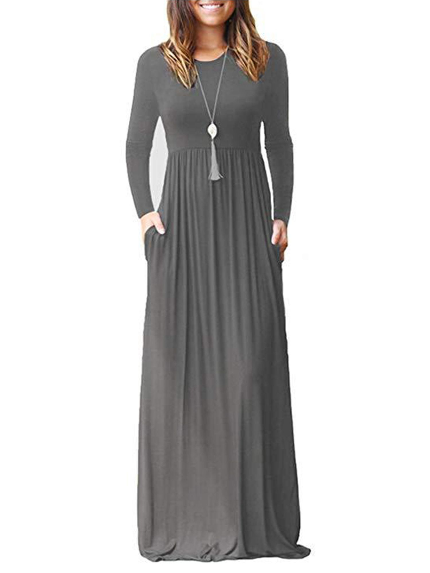 Wodstyle Women Casual Long Sleeve Plain Party Boho Maxi Dress Walmart Com Long Dress Casual Maxi Dresses Casual Maxi Dress [ 2000 x 1500 Pixel ]