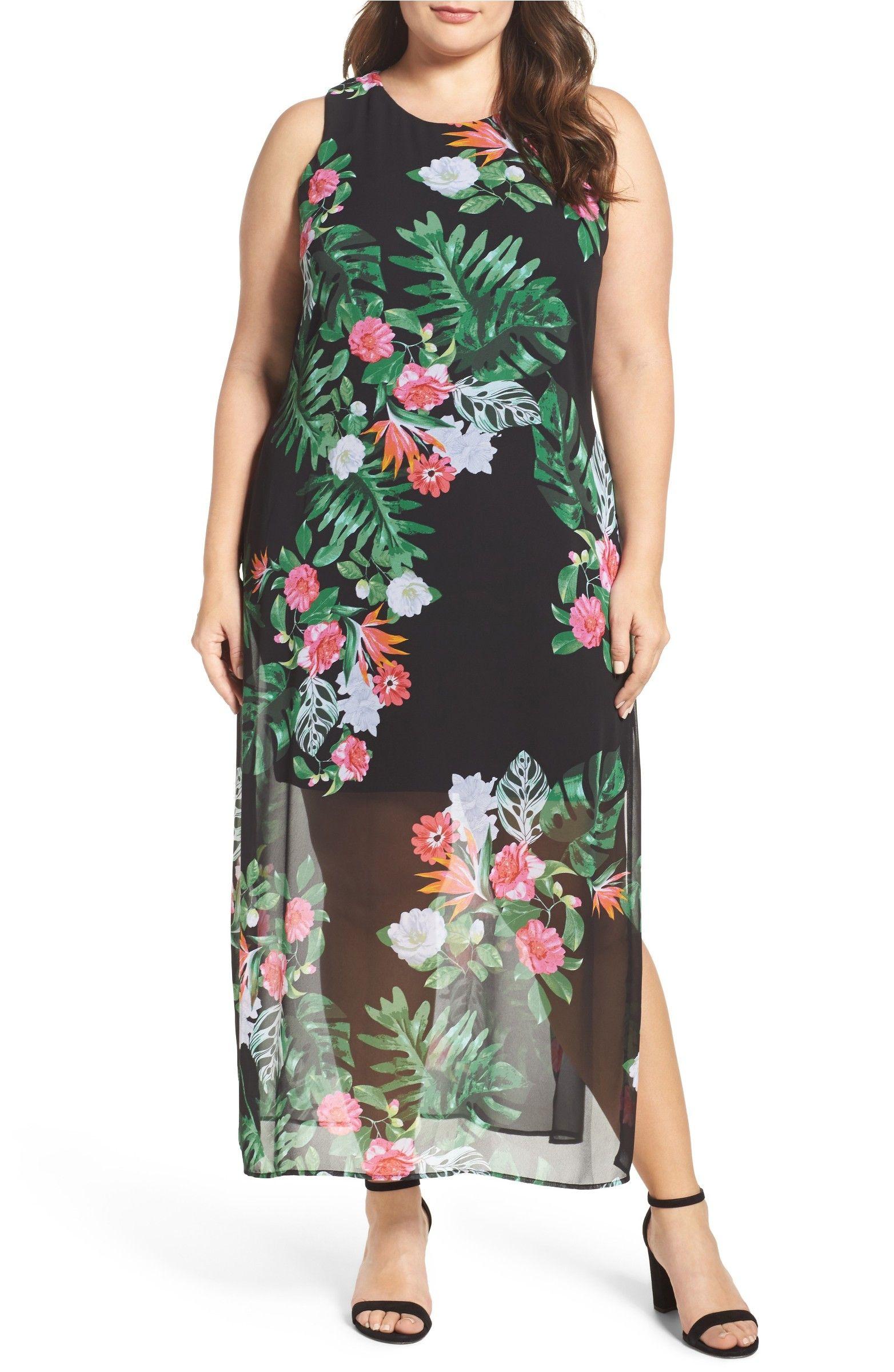Vince Camuto Havana Tropical Maxi Dress Plus Size Nordstrom Tropical Maxi Dress Plus Size Maxi Dresses Plus Size Long Dresses [ 2400 x 1564 Pixel ]