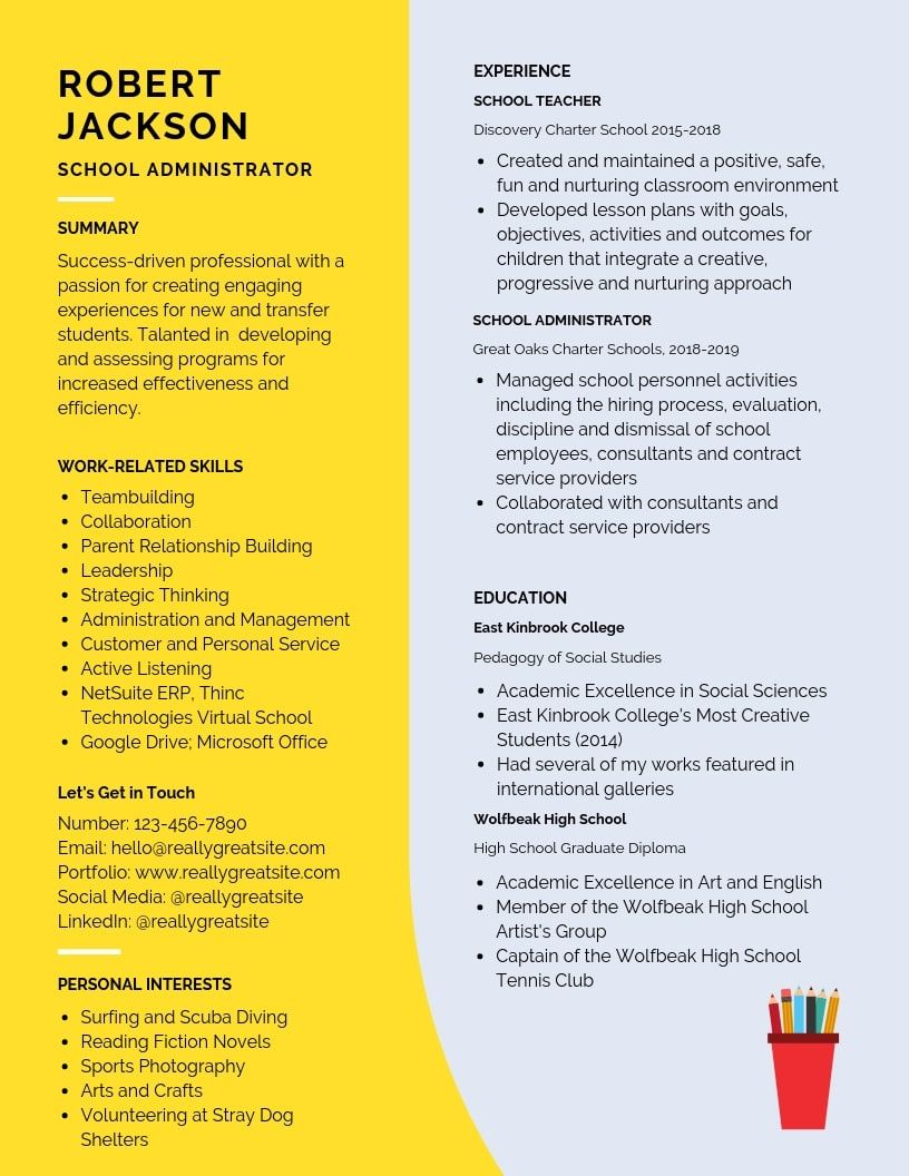 School Administrator Resume Samples Templates Pdf Word 2021 School Administrator Resumes Bot School Administration Education Resume Teacher Resume Template