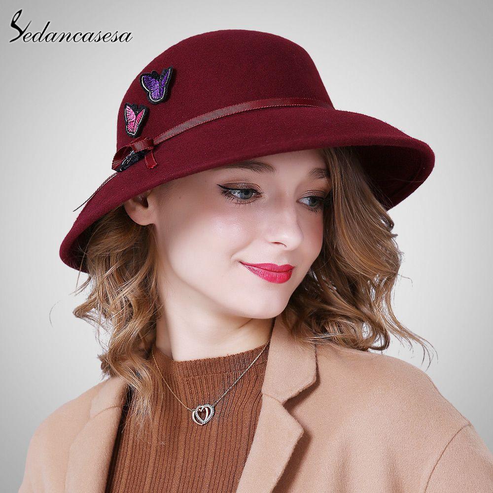 dafd342bfed1c Wholesale Sedancasesa New Autumn Winter Female Fedora hat handmade  Butterfly European Wide Brim Hat Fashion England Wool Felt hat FW186017