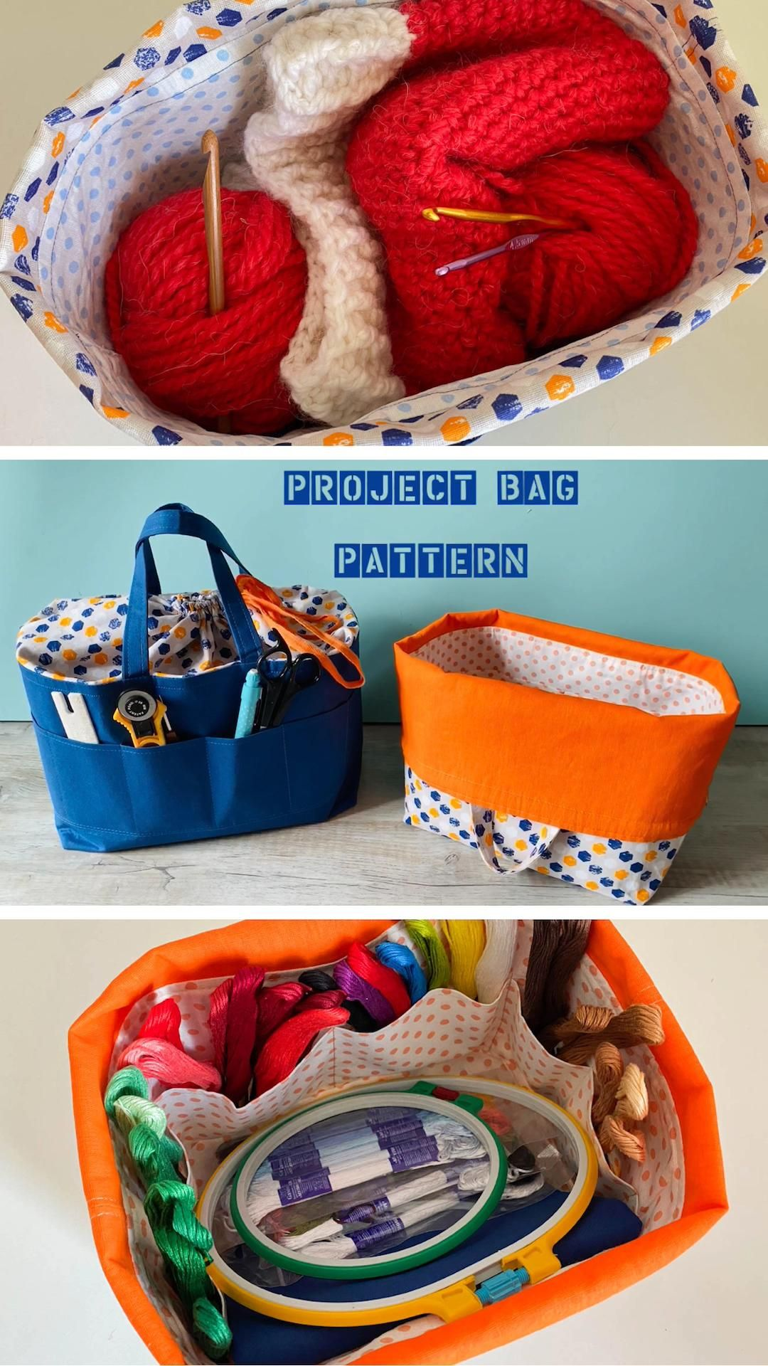 Knitting project bag PATTERN, Drawstring bag, Storage bag sewing tutorial, Easy for Beginners Diy