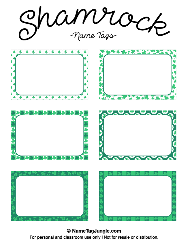 Free Printable Shamrock Name Tags The Template Can Also Be Used For - Free name tag templates