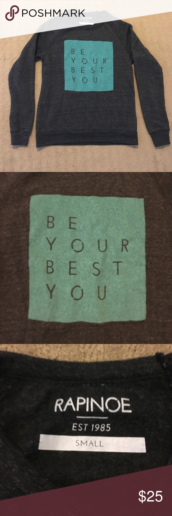 Crew neck sweatshirt Grey crew neck sweatshirt, with inspirational message in a teal square. Never worn. Super soft. Tops Sweatshirts & Hoodies