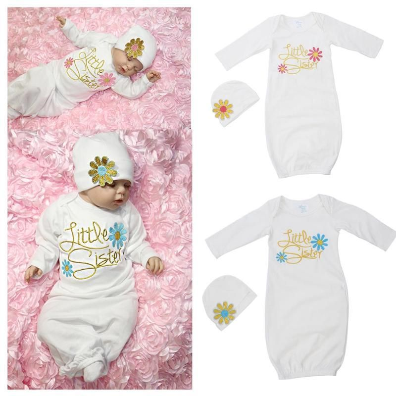 046a67484 Lovely Baby Girls Long Sleeve Sleepwear Nightclothes with Hat ...