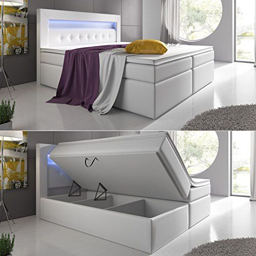 Boxspringbett Weiß 180x200 mit Bettkasten LED Kopflicht Hotelbett - boxspringbett ratgeber vorteile fragen beantwortet
