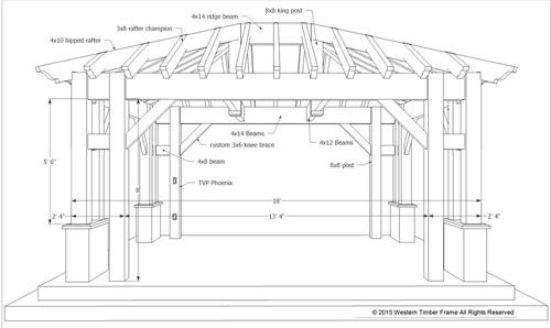 Plan for an easy 16 39 x 20 39 diy solid wood pergola or for Pool pavilion plans
