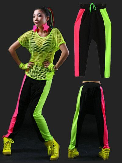New 2015 Women s Leisure loose fluorescent splicing haroun pants jazz dance  acrobatics pants show costumes hip hop pants 76f110c6d73