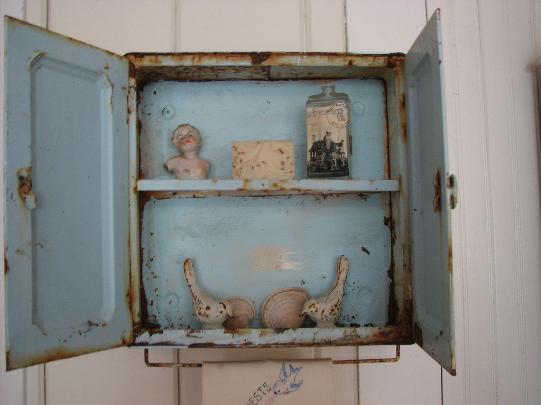 Beau Small Antique Brass Medicine Cabinet: Vintage Medicine Cabinets
