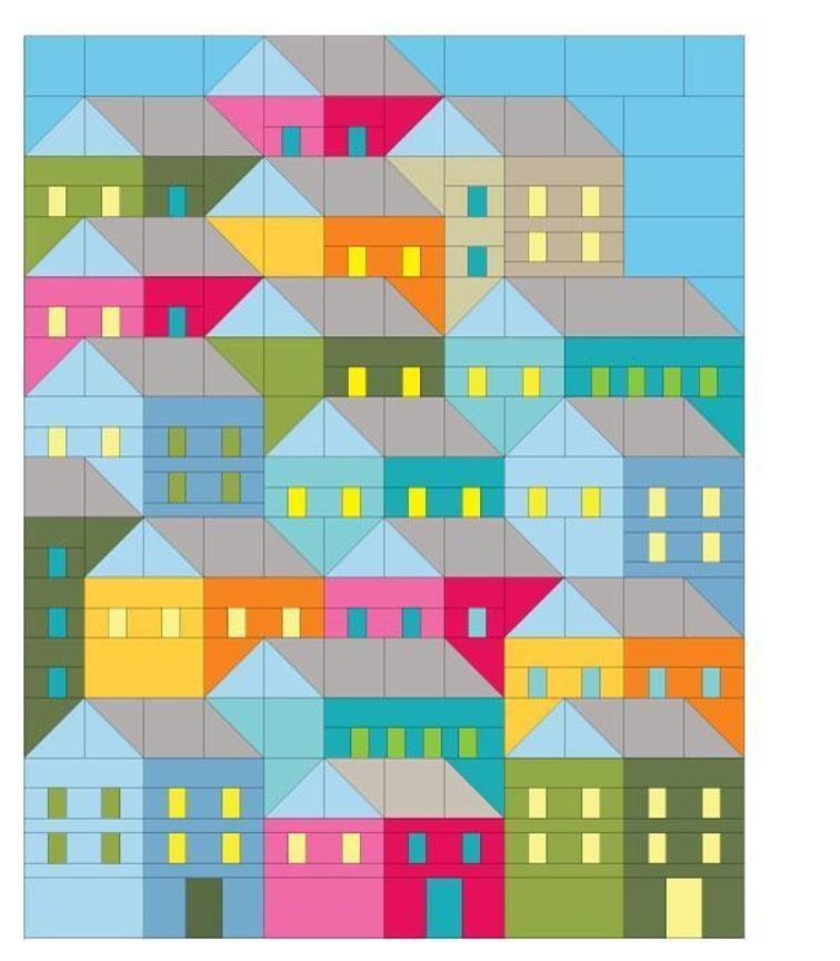 Hillside Houses Quilt Pattern   House quilts, Patterns and House : house patterns for quilts - Adamdwight.com